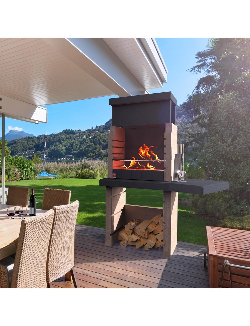 Barbecue In Muratura Immagini dettagli su barbecue a muratura boa vista sarom in calcestruzzo alleggerito  carbonella legna