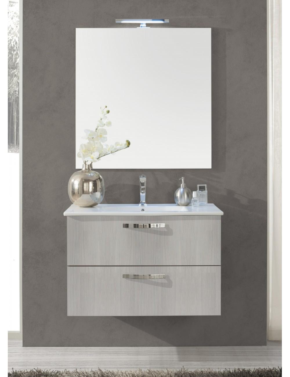 Mobile Bagno Sospeso 80 Cm.Dettagli Su Mobile Bagno Sospeso 80 Cm Design Moderno Top Ceramica E Specchio Focus Terra