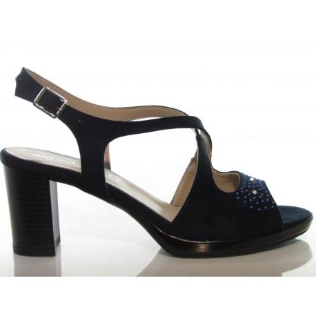 Dettagli su Bruna Jesi 771296 scarpe donna sandali tacco 7 camoscio blu